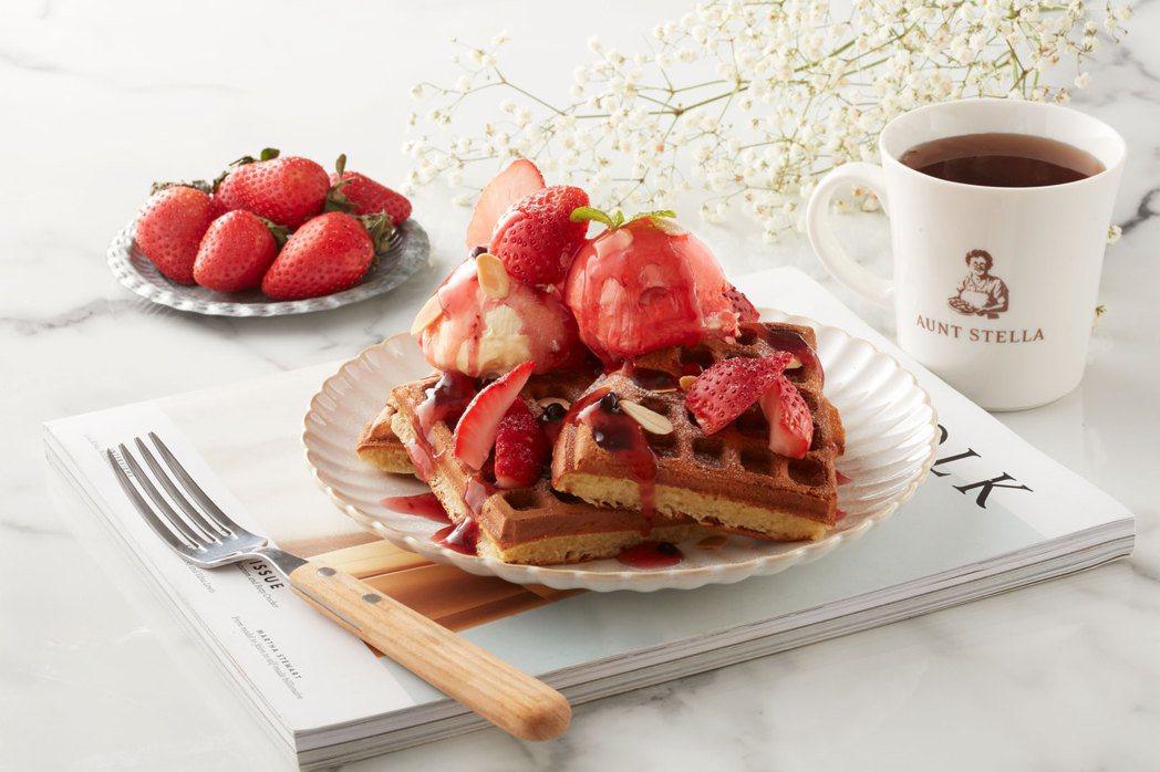 草莓佐野莓淋醬冰淇淋鬆餅,每份235元。圖/詩特莉提供