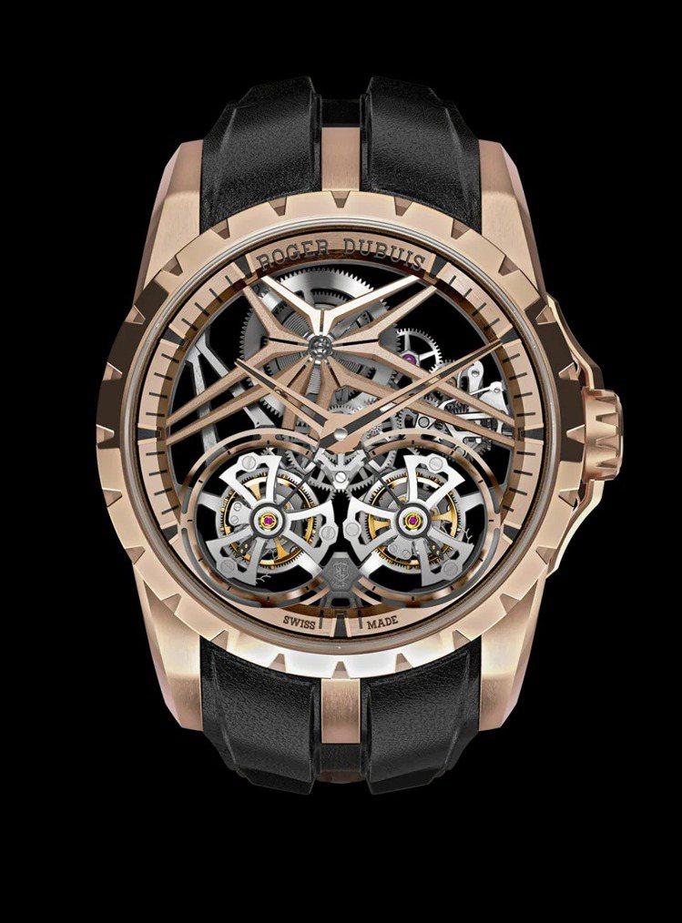 擁有雙飛行陀飛輪的Roger Dubuis Excalibur腕表,第一代最早問...