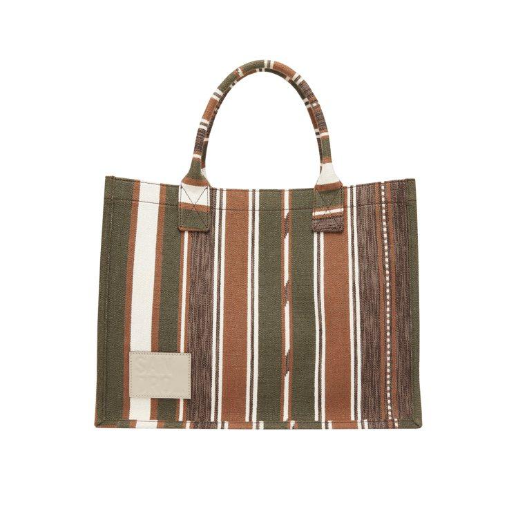 sandro條紋拼色手提包,10,900元。圖/sandro提供