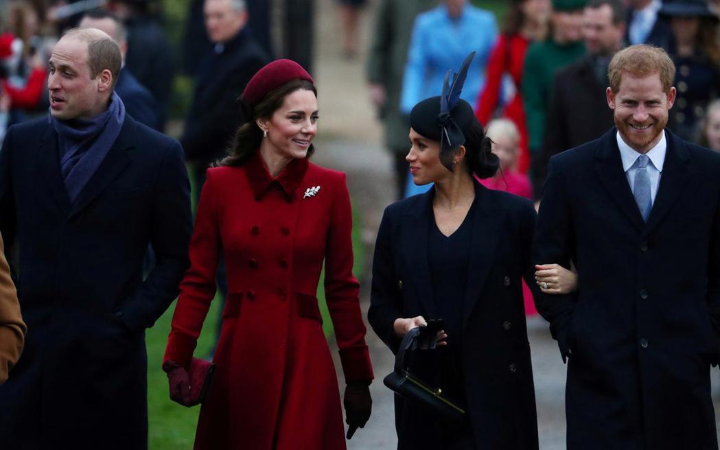 威廉(左起)與凱特夫婦並沒有對梅根和哈利又要當爸媽有任何公開的祝賀。圖/路透資料...