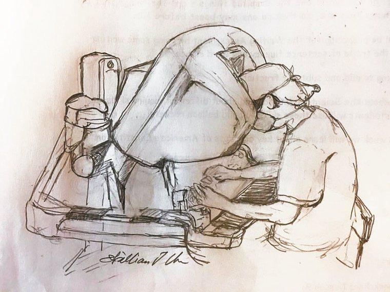 陳自諒透過畫畫紓壓,將手術過程以素描呈現。圖/陳自諒提供