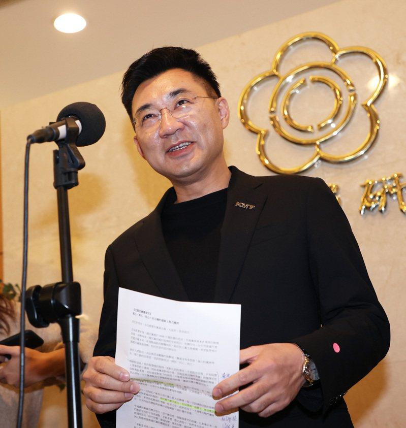 國民黨主席江啟臣宣布參選連任黨主席,並指出主要是幫助國民黨在地方選舉上打下勝選基礎,最終重新贏回執政。 記者潘俊宏/攝影