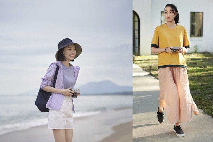 身為UNIQLO代言人的倪妮及品牌好友游宇潼示範如何混搭經典款式,並結合機能性設...