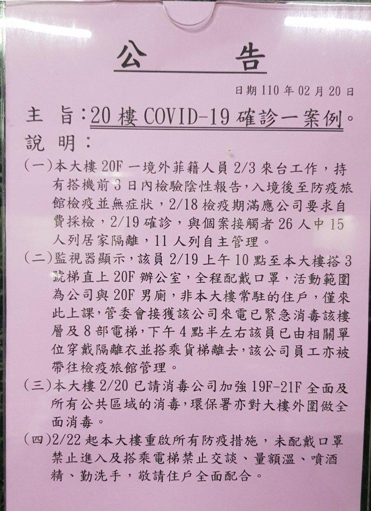 台南市某棟商業大樓昨天張貼出疫情相關公告,引發恐慌。圖/民眾提供
