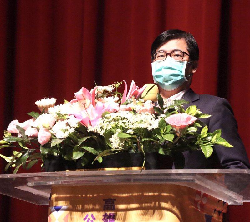高雄市長陳其邁出席校長聯席會議,鼓勵校長用心辦學,提醒目前防疫、處理霸凌案是重中之重,每個環節都要謹慎。圖/高雄市教育局提供