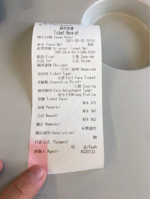 網友沒有學生證搭高鐵被補票。圖/取自PTT