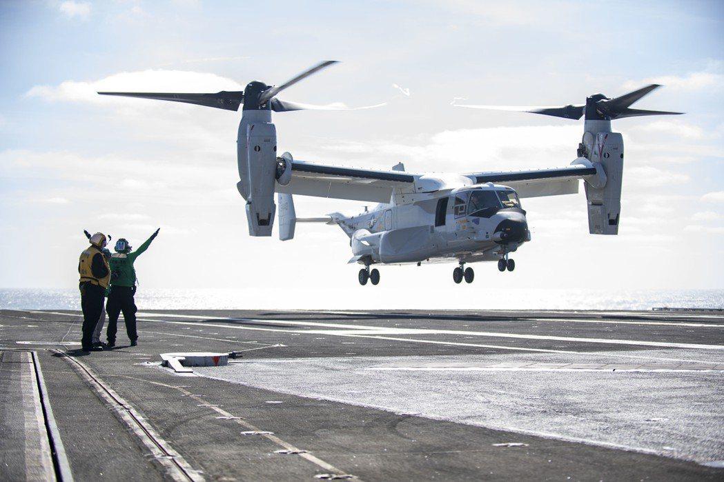 2020年2月8日,美國海軍正式接收第一架CMV-22B型,預計於2021年達到初始作戰能力(IOC)。 圖/美國海軍