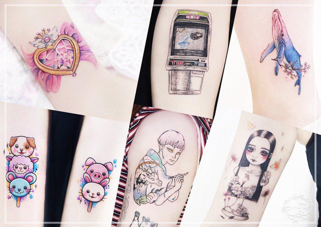「粉紅喵刺青」除了創辦人小喵老師之外,還有其他多位優秀的女刺青師。粉紅喵/提供