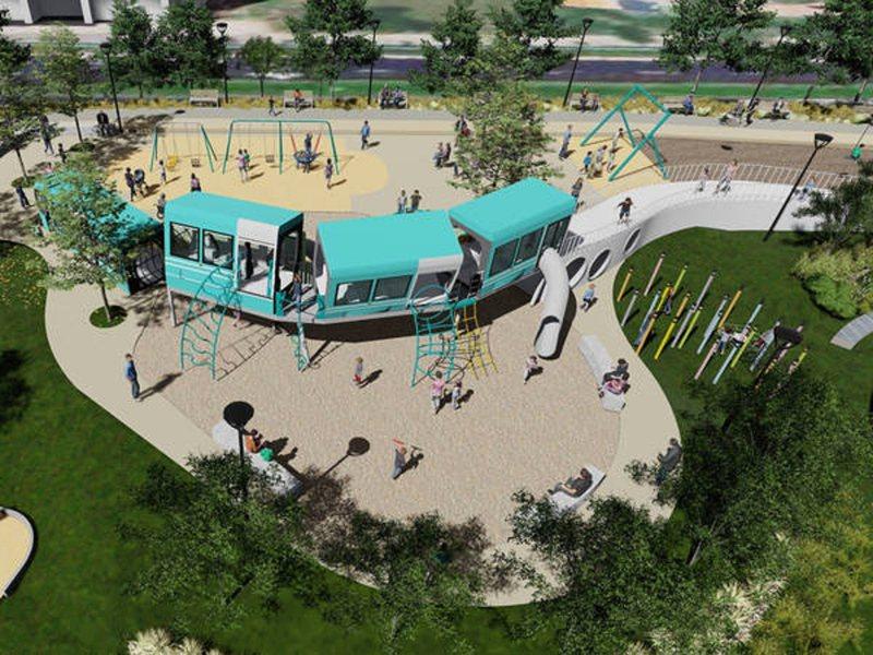 淡水區新市鎮公23公園共融式特色遊具場一再延宕,市議員鄭宇恩在臉書祭出若如期完工,要請大家100份的雞排慶祝。 圖/紅樹林有線電視提供