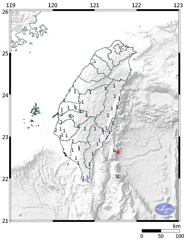 台東外海發生苪氏規模5.2地震,但深度達上百公里,影響不大。圖/取自中央氣象局