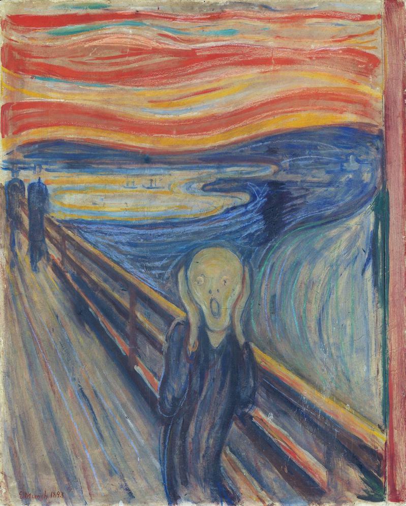 挪威畫家孟克1893年的代表作「吶喊」左上角的雲中,有一行用鉛筆寫的塗鴉「只有瘋子才畫得出來」,證實是孟克的親筆。圖/取自紐約時報