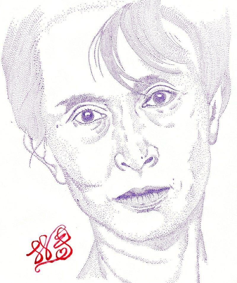 翁山蘇姬(Aung San Suu Kyi)。林一平繪