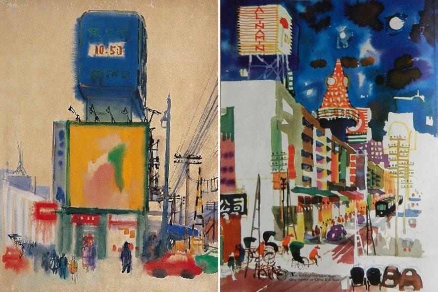 左:1968年席德進《中華商場》水彩畫;右:1967年曾景文以中華商場為主題繪製的水彩畫。 圖/作者提供、國立臺灣美術館收藏