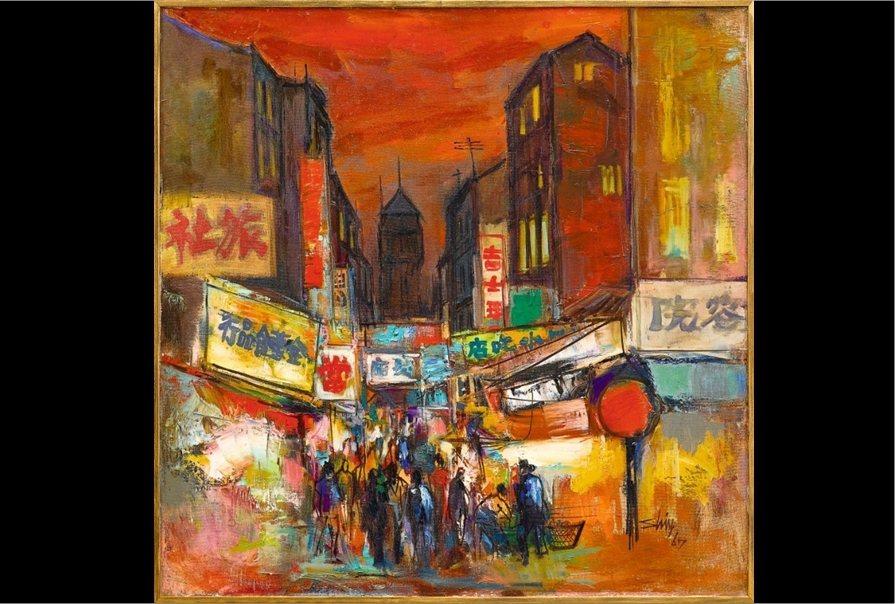 1967席德進繪製油畫作品《西門町》。 圖/作者提供