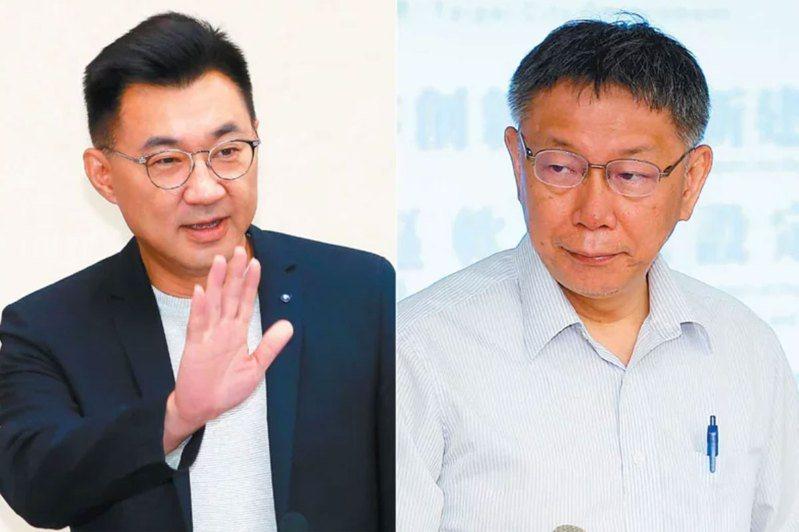 江啟臣(左圖)和柯文哲(右圖)周三同台,「藍白合作」才剛曝光,但馬上就引爆國民黨黨內齟齬。圖/聯合報系資料照片