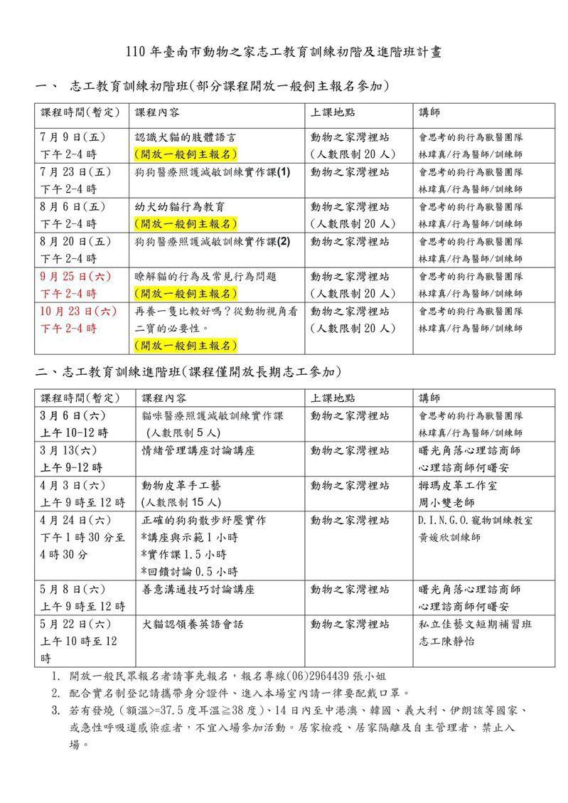 台南市動物之家志工講座課程表。圖/農業局提供