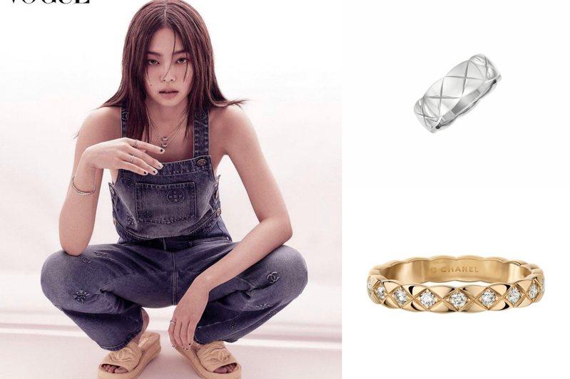 Jennie配戴香奈兒COCO CRUSH系列珠寶登上韓國時尚雜誌。圖/取自IG @jennierubyjane