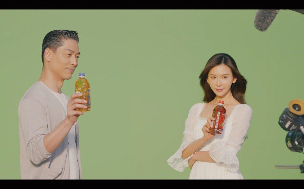 AKIRA(左)、林志玲(右)合體代言。圖/御茶園提供