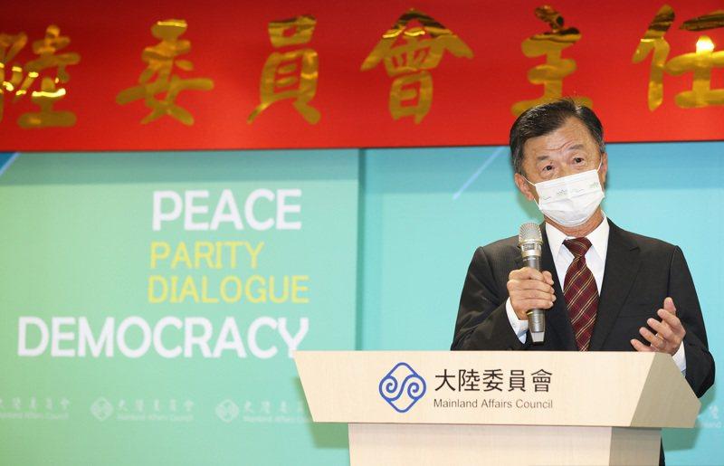 陸委會主委今天舉行交接典禮,新任主委邱太三接受媒體提問。記者潘俊宏/攝影