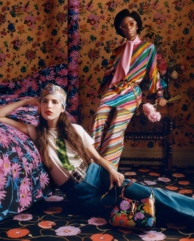Gucci從Ken Scott豐富檔案庫中取材,把不同主題和顏色的印花放到各式單...