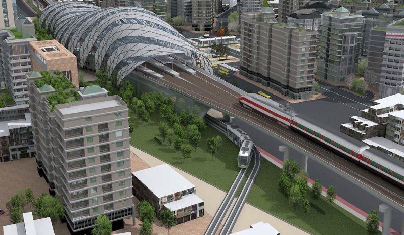 彰化鐵路高架化彰化站雙鐵共構式意圖。圖/彰化縣府提供