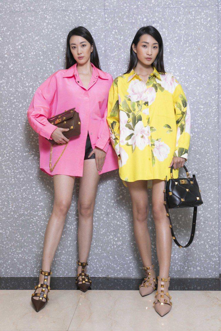 (左)螢光桃紅外套式襯衫93,000元,皮革短褲89,000元,Roman St...