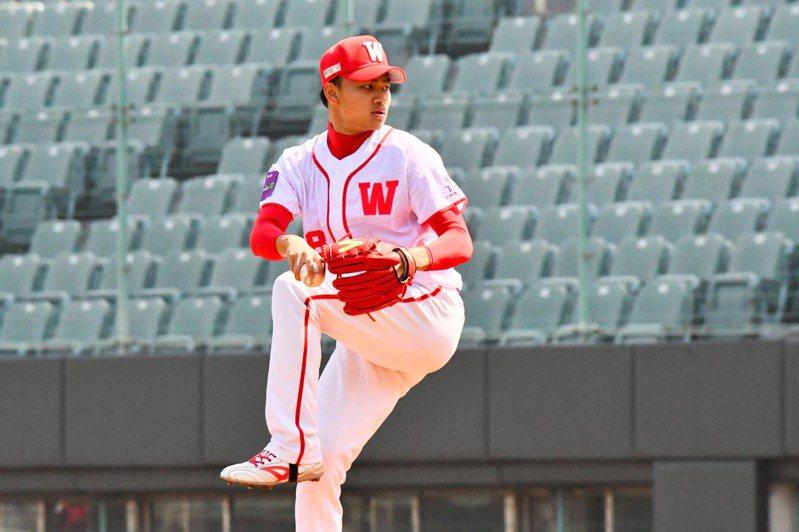 味全龍隊20歲投手徐若熙在自辦熱身賽火球連發。圖/味全龍隊提供