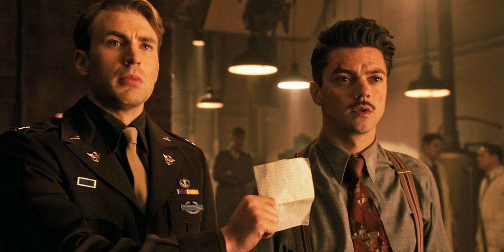 多明尼克庫柏(右)在「美國隊長」扮演富有又會發明的霍華史塔克。圖/摘自imdb