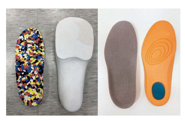 手工訂製鞋墊(左)與醫療型鞋墊。圖/王宗揚提供