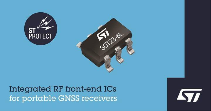 意法半導體推出整合阻抗匹配與保護功能的新射頻IC,簡化攜帶式GNSS接收器的設計...