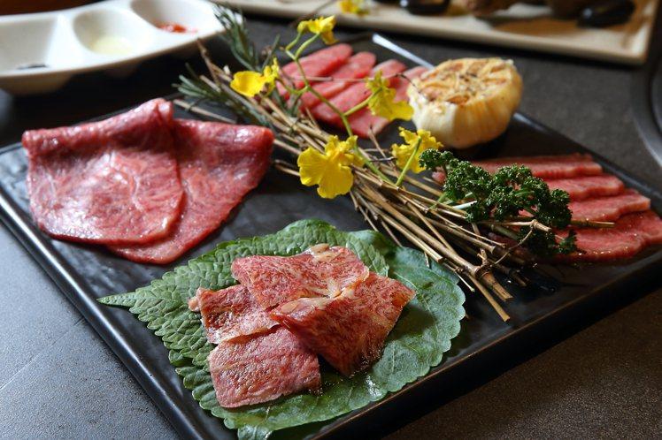 在虎王套餐中,一次就能吃到A5和牛的4個部位。記者陳睿中/攝影