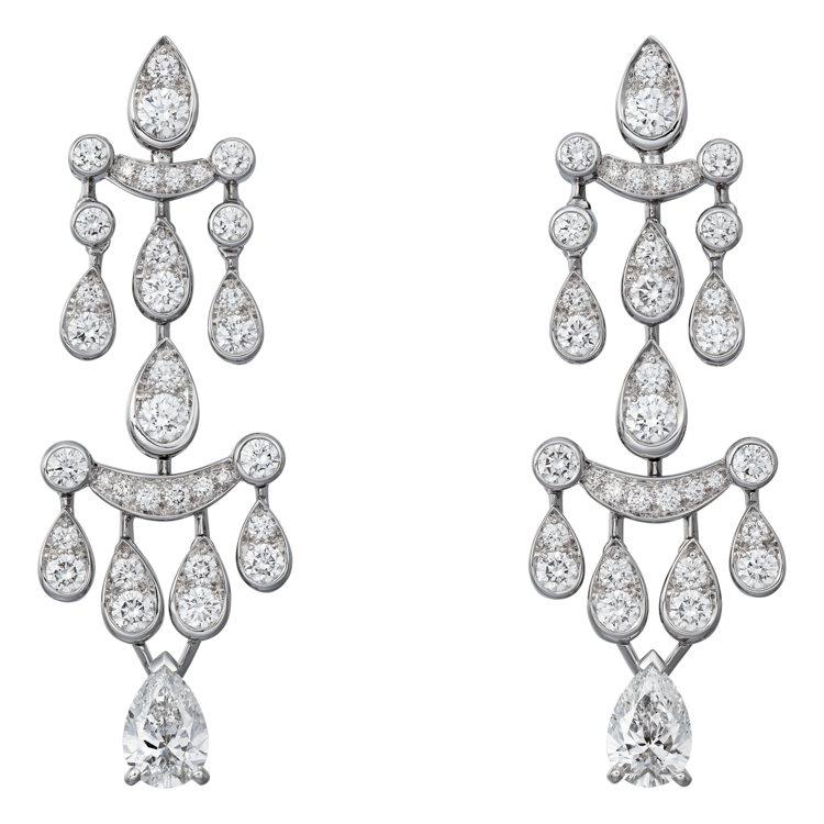 Pluie de Cartier鑽石系列項鍊耳環,價格店洽。圖/卡地亞提供