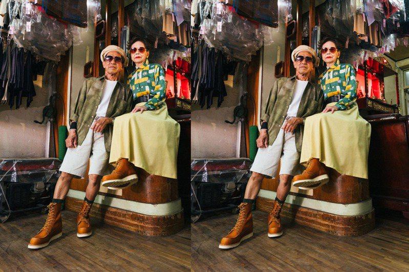 高年級網紅「萬秀洗衣店」的阿公萬吉、阿嬤秀娥受邀擔任美式休閒鞋履品牌RED WING形象廣告拍攝。圖/摘自instagram