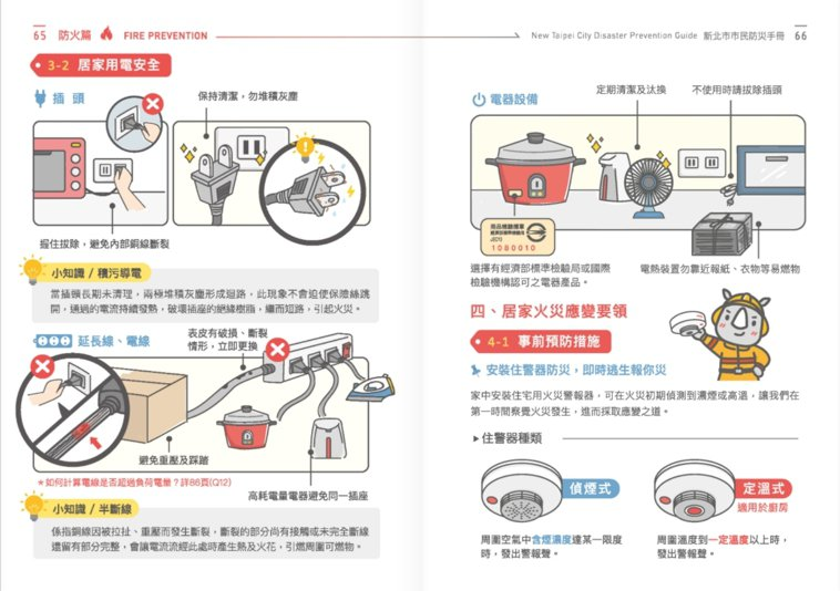 新北市市民防災手冊中針對電器用電安全有圖文並茂的解說。記者王長鼎/翻攝