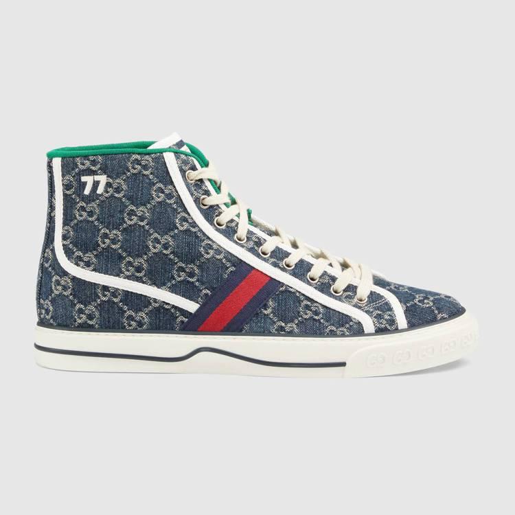 Tennis 1977男士丹寧高筒球鞋,26,700元。圖/Gucci提供