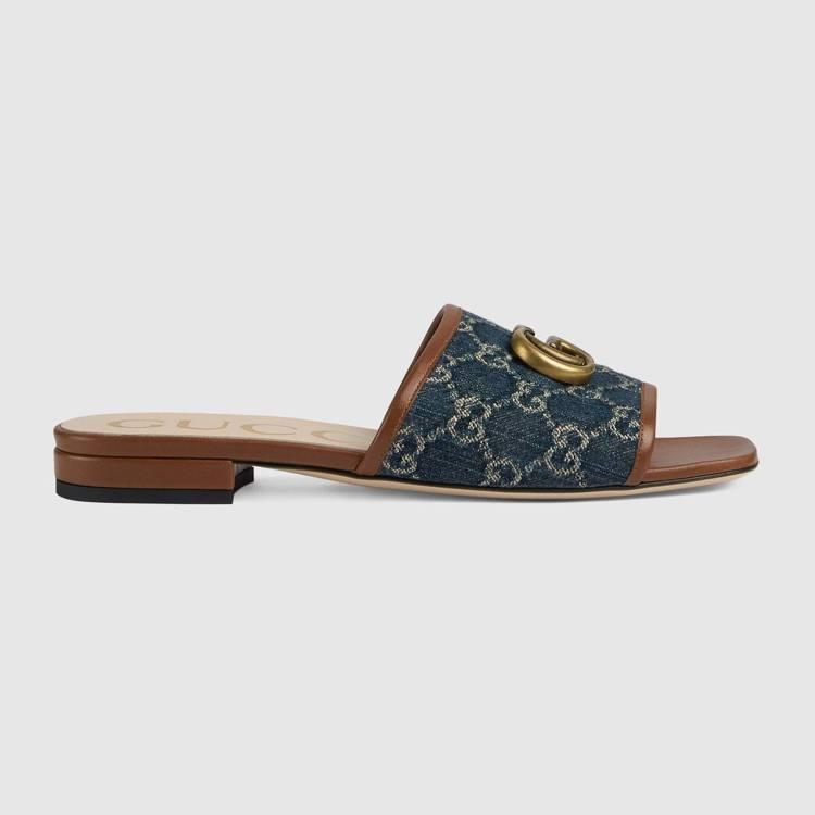 丹寧女士拖鞋,21,400元。圖/Gucci提供