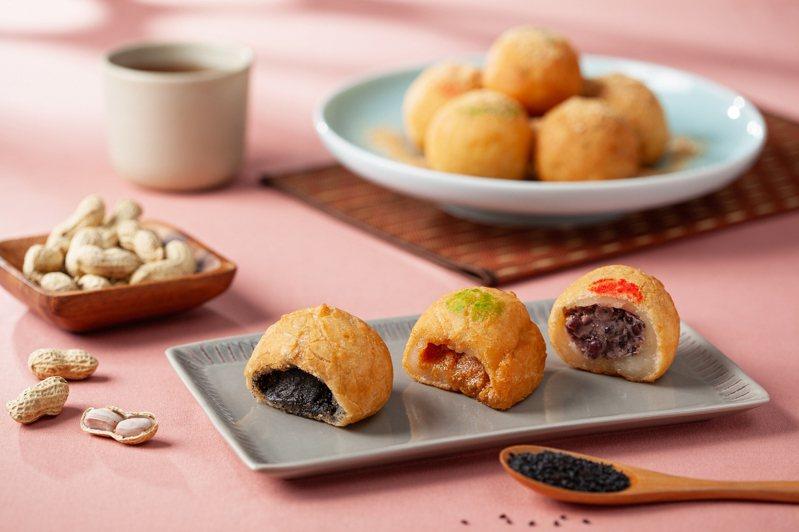 台北國賓的古早味酥脆炸元宵,有紅豆、芝麻、花生三種口味。圖/台北國賓提供