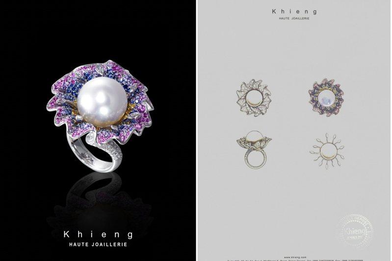 方國強推出Khieng HAUTE JOAILLERIE高級訂製珠寶系列2021首件作品「Jardin des Tuileries春日印象」戒指。圖/Khieng HAUTE JOAILLERIE提供