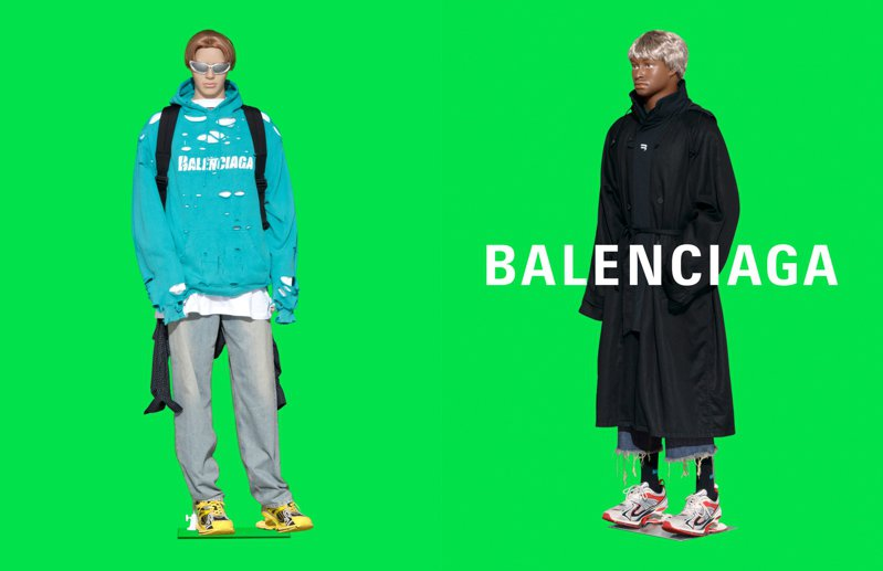 綠色背景也讓人聯想起製作特效的綠幕。圖/Balenciaga提供
