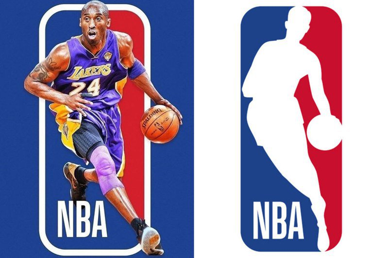 籃網球星厄文建議聯盟使用布萊恩標誌(左)來取代現在的威斯特標誌(右)。 擷圖自厄文IG(左)與NBA官網(右)