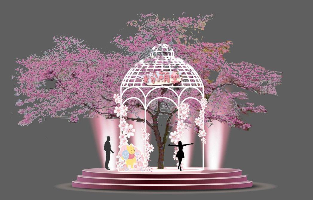 3月14日夢時代粉萌野餐日,打造10米高櫻花樹,還有小熊維尼場景在樹下一起浪漫賞...