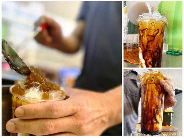 薛老闆正在製作他最自豪的招牌商品-惡魔熔岩珍奶,舀入一匙滿滿的手作黑糖珍珠是美味的靈魂,非常有特色!