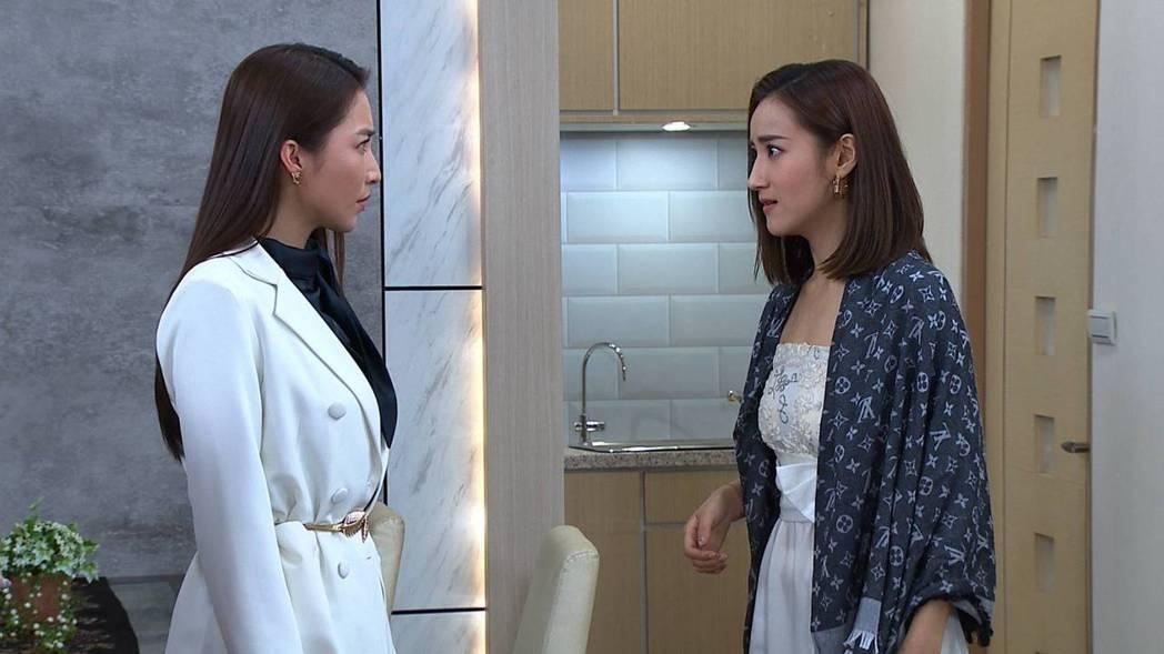 張家瑋(左)、夏宇禾在「多情城市」中從原本閨蜜到正宮小三對決。圖/民視提供