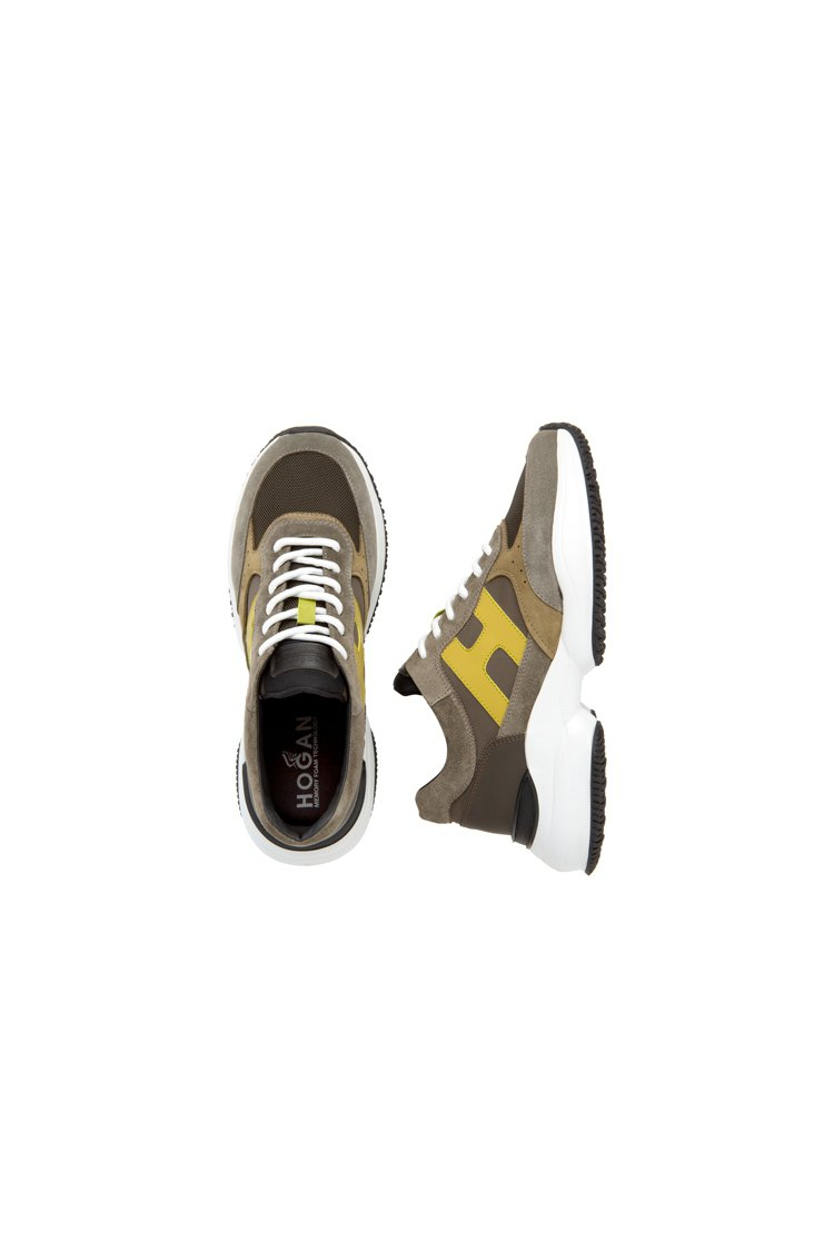 HOGAN INTERACTION軍綠撞色休閒鞋,19,600元。圖/迪生提供