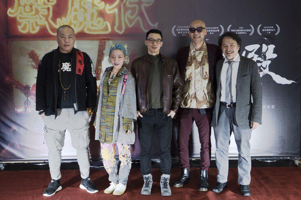 左起彼勒、林幻夢露、導演王逸帆、林道禹、柯恩出席首映。圖/車庫提供