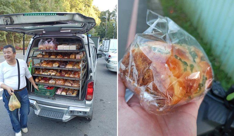 有網友在路邊發現一輛麵包車,勾起他小時候的回憶,趕緊買了一個麵包大快朵頤。 圖/翻攝自「路上觀察學院」