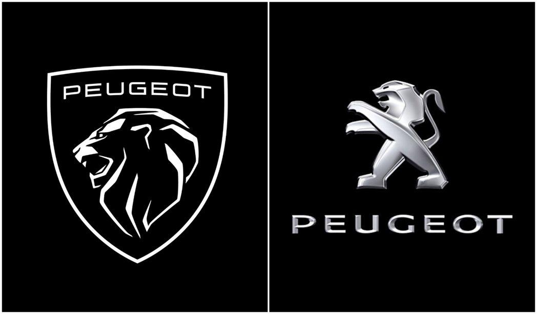 全新Peugeot廠徽 (左) 與現行車款使用近11年的廠徽 (右)。 摘自Pe...