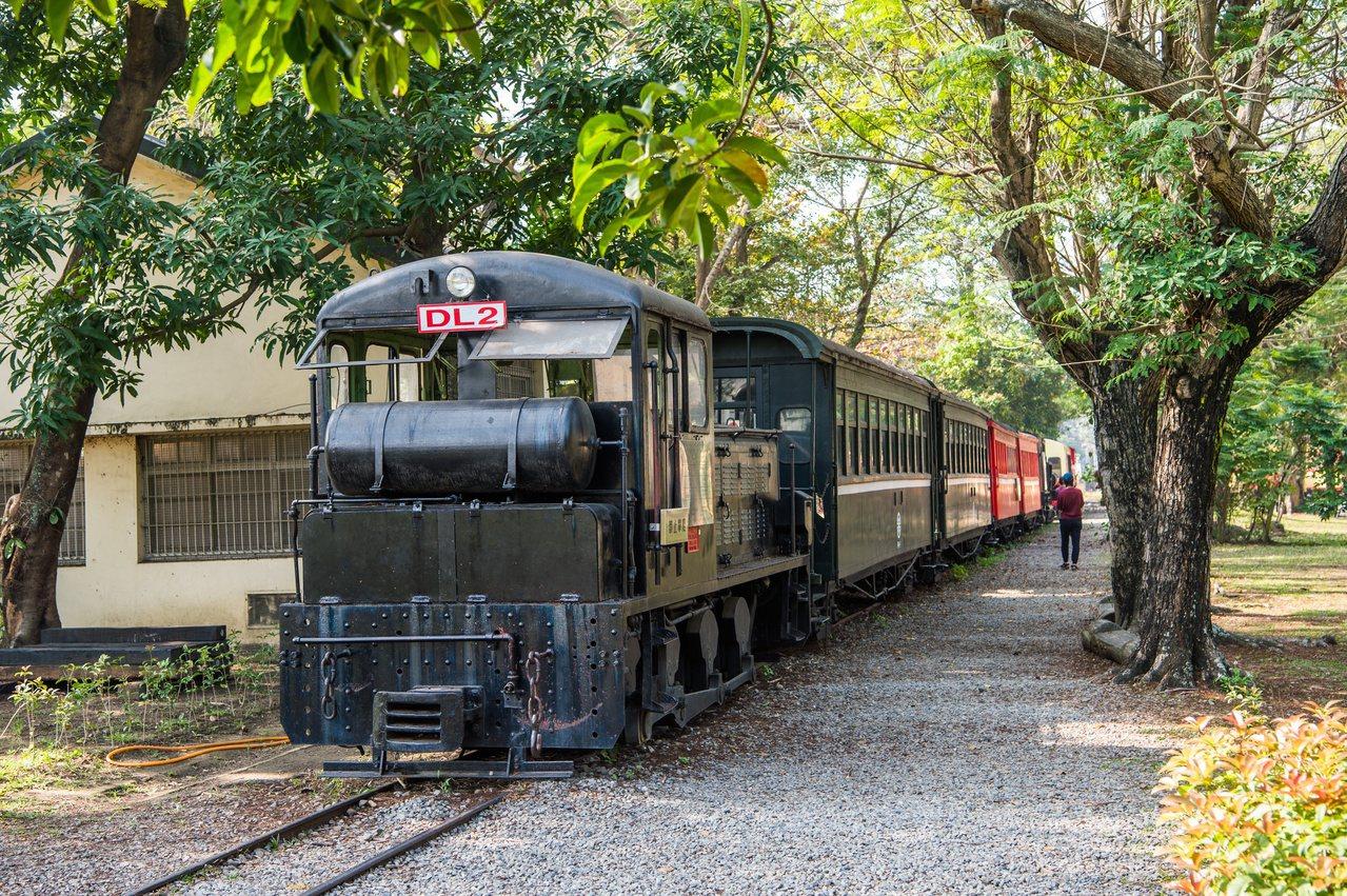 阿里山森林鐵路車庫園區在濃密的樹林裡,可欣賞昔日風光上陣的退役列車。 圖/嘉市府...