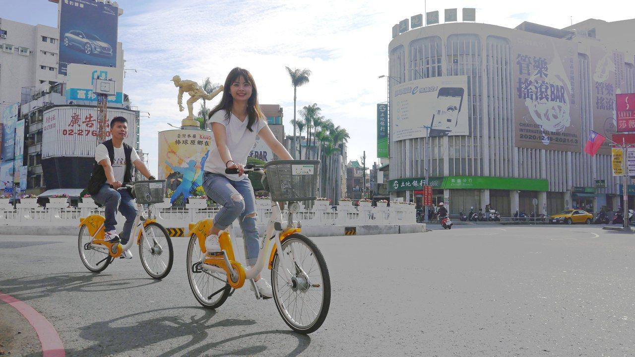 嘉義市府觀光新聞處趁勢推出「嘉義市Youbike專屬旅程」,帶民眾來到知名噴水圓...