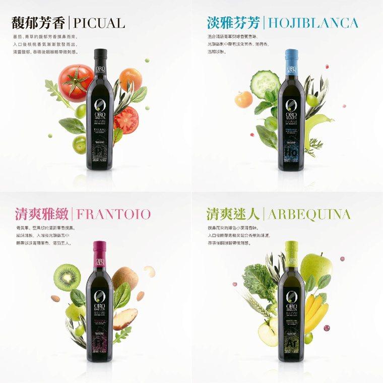 皇嘉橄欖油嚴選四種口味,左上Picual有番茄香氣,右上結合青草香,左下帶有奇異...